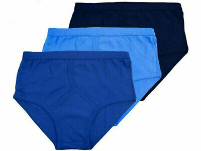 3,6,12x Mens Y Fronts Briefs Underwear Cotton Rich Blue, Navy Colour S-2XL • 5.99£