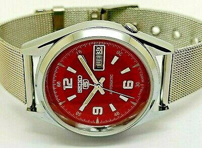 $ CDN46.70 • Buy Seiko 5 Automatic Men's Steel Red Dial Vintage Japan Watch Run Order