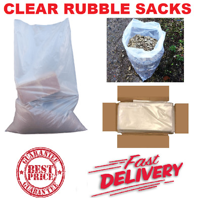 £7.55 • Buy Clear Heavy Duty Rubble Builders Refuse Tough Waste Sacks Bags Liners