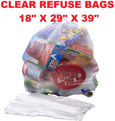 £7.69 • Buy Large Strong Clear Plastic Polythene Bin Liners Waste Bags Sacks18 X29 X39 160G