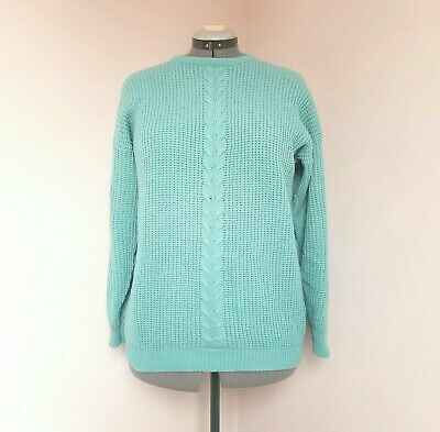 FASHION EXTRA Size 18 Aqua Blue Chunky Cable Knit Slouchy Jumper  • 0.79£