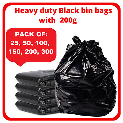 £22.75 • Buy Extra Strong Black Heavy Duty Bin Liners Bags Rubbish Waste Refuse Sacks 200g Uk