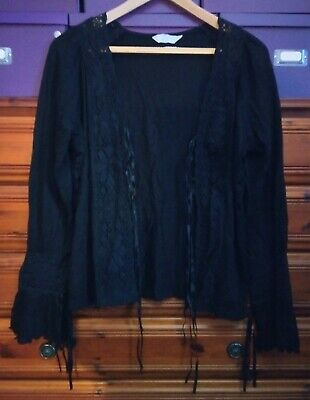 Ladies Black Goth/hippy Top By Tyler. Size 16 Very Good Condition. • 3.20£