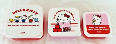 New Sanrio Hello Kitty Cat 3 Plastic Storage Pots Lunch Food Box Girl Kids Gift • 7.99£
