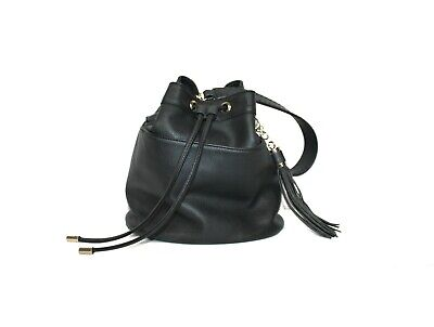 AU39 • Buy Forever New Black Faux Leather Top Handle Drawstring Bucket Bag