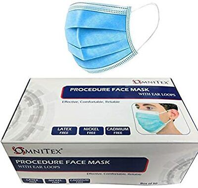 Omnitex Disposable 3ply Breathable Dust Proof Protective Face Mask - Box Of 50 • 17.50£