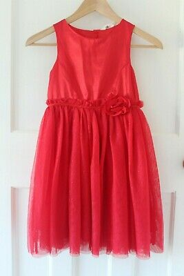 H&M Christmas/Party Dress In Red Satin With A Rose And Full Tulle Skirt, Girls • 9.80£