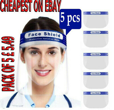 Face Shield Full Face Visor Protection Mask PPE Shield Clear Plastic Transparent • 5.49£