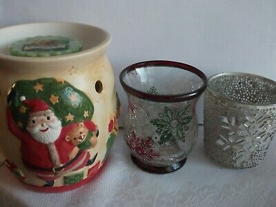 Yankee Candle Wax Melt/Tarts Burner & 2 X Votive Candle Holder - Xmas  • 7.50£
