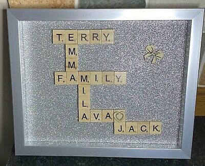"Personalised Scrabble Art Picture Gift Family ~ Approx 8"" X 10"" Box Frame • 15£"
