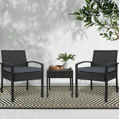 AU163.95 • Buy Outdoor Furniture Rattan Wicker Table Chair Set Garden Lounge Setting Black