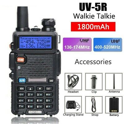 VHF/UHF Dual Band USB Two Way Long Range Ham Radio Walkie Talkie Earphone Black • 22.29£