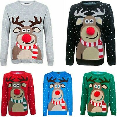 Kids Childrens Boys Girls Xmas Christmas Winter Jumper Sweater Knitted Retro New • 6.95£