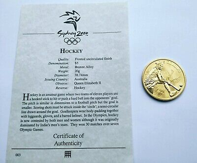 Sydney Olympic Games 2000 Australia Collectable $5 Five Dollars Coin: Hockey • 6.99£