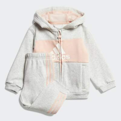 Adidas Infant Girls Pink/grey Logo Tracksuit. Jogging Suit. Ages 0-3 Years.  • 24.99£