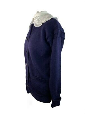 Leather Button Woolovers Guernsey Womens Cardigan M 12-14 Navy Traditional Wool • 29.99£