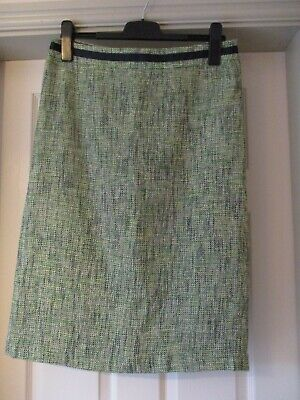 Boden Straight Knee Length Skirt In Green And Navy Tweed Look.  Size 14 • 8£