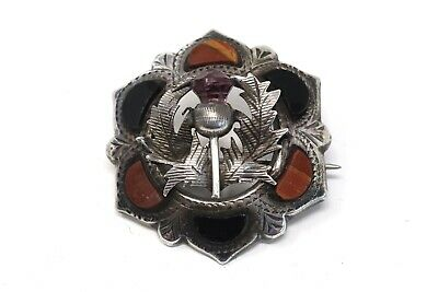 A Lovely Antique Victorian Sterling Silver 925 Agate & Amethyst Brooch #26083 • 0.99£