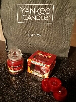 Yankee Candle TLights Pk Of 12   & Small Scented Candle Black Cherry  • 12£
