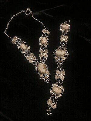 Antique Sterling Continental 800 Silver Filigree Multi Cameo Necklace & Bracelet • 65£
