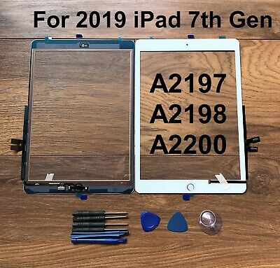 White For IPad 2019 7th 10.2  A2197 A2198 A2200 Touch Screen Glass Replacement  • 20.50£