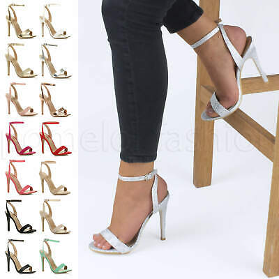 £17.99 • Buy Womens Ladies Slim High Heel Barely There Ankle Strap Party Evening Sandals Size
