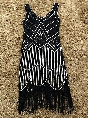 £18 • Buy 20'S STYLE FLAPPER CHARLESTON DECO Gatsby Downton SEQUIN DRESS SIZE L