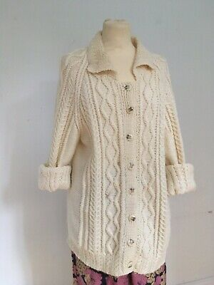 Vintage Aran/Cable Hand Knit Traditional Oversize Cardigan Collar Sz 46  • 14£