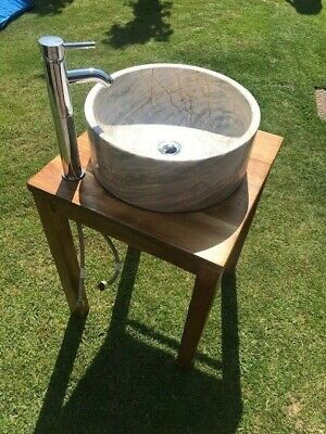 Free Standing Stone/marble Sink In Wood Unit • 40£