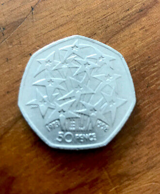 50p UK In EEC 25 Years 1998 EU Stars Fireworks Fifty Pence Coin -Circulated • 1.20£
