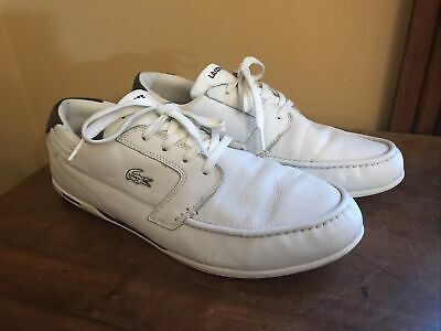 Men's Lacoste Dreyfus White Leather Brown Mens Lace Up Sz 12 Shoe • 21.27£