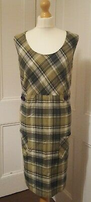 Green Check Pinafore Dress Fitted Pockets Work Party Autumn Uk 24 • 3.99£