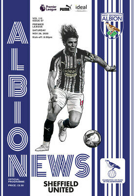 WEST BROM / WEST BROMWICH  V SHEFFIELD  UNITED 28/11/2020 OFFICIAL PROGRAMME  • 3.95£