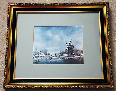 Large Old Dutch Print Of Winter Skating On Pond Near Windmill In A Super Frame • 15£