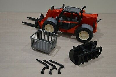 Bruder Manitou Telehandler 1:16 with Grabber, Bale Spikes, Forks And Crate. • 14£