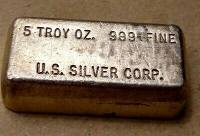 $ CDN288 • Buy Rare 5 Troy Oz Us Silver Corp 999+ Fine Silver Bar