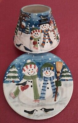 Yankee Candle Christmas Snowman Family Shade And Plate Set • 22£