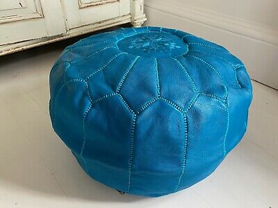 Blue Leather Moroccan Pouffe Footstool Handmade • 2.21£
