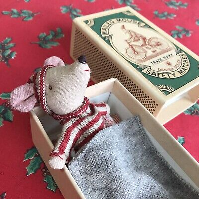 New Maileg Christmas Mouse Little Brother Matchbox Danish Toy Present Red Green • 27£