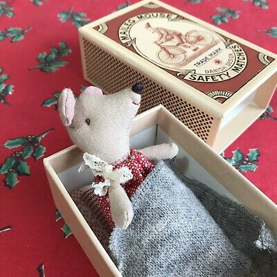 New Maileg Christmas Mouse Little Sister Matchbox Danish Present Toy Red • 26£
