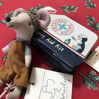 New Maileg Mouse Big Brother Winter Danish Suitcase Tin Christmas Toy Present • 23£
