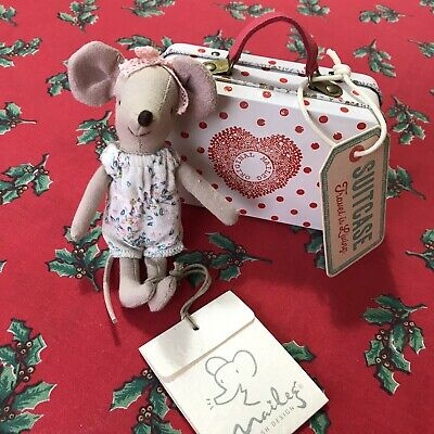 New Maileg Mouse Big Sister Danish Suitcase Tin Christmas Toy Present • 27£