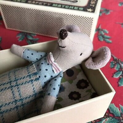 New Maileg Big Brother Mouse Matchbox Danish Christmas Toy Present Blue Bow Tie • 17£