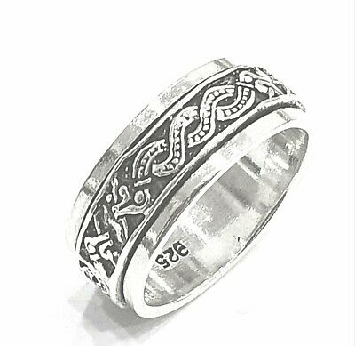 925 Sterling Silver Solid Plain Spinning Thumbs Ladies & Men Ring • 29.88£
