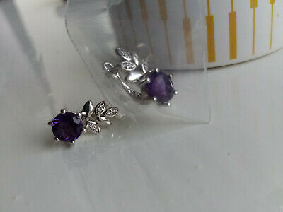 Beautiful Sterling Silver Amethyst & Cubic Zirconia Earrings • 6.99£