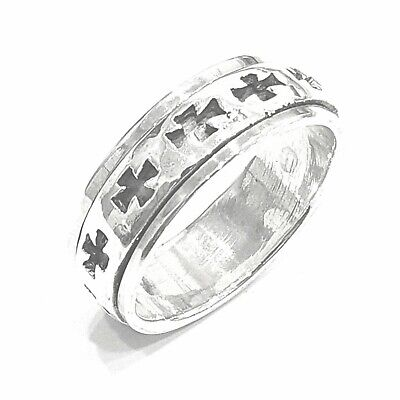 925 Sterling Silver Solid Plain Spinning Thumbs Cross Ladies & Men Ring • 36.42£