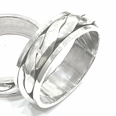 925 Sterling Silver Solid Plain Plaited Spinning Thumbs Ladies & Men Ring • 38.25£