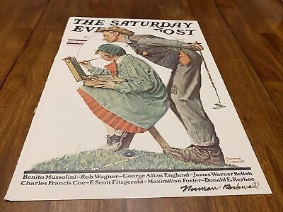 """$ CDN162.93 • Buy Signed Norman Rockwell/The Saturday Evening Post """"Hayseed Art Critic"""" July 21 28"""