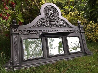 Antique Victorian Style Cast Iron Mirrored Overmantle Surround Fireplace (QP446) • 140£