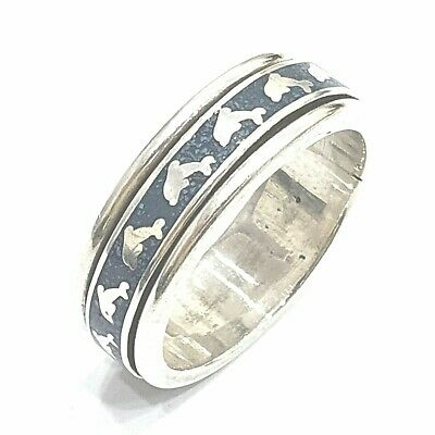 925 Sterling Silver Solid Plain Spinning Dolphin Thumbs Ladies & Men Ring • 32.40£